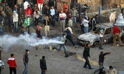 demonstrators on the streets in Suez